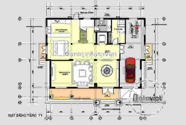Mặt bằng tầng 1 mẫu thiết kế biệt thự kiến trúc châu Âu Tân cổ điển 3 tầng (CĐT: Ông Mã - Hà Nội) KT16117 bởi Công Ty CP Kiến Trúc và Xây Dựng Betaviet