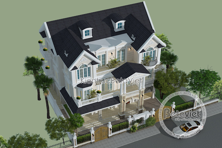 Phối cảnh mẫu thiết kế biệt thự kiến trúc châu Âu Tân cổ điển 3 tầng (CĐT: Ông Mã - Hà Nội) KT16117 bởi Công Ty CP Kiến Trúc và Xây Dựng Betaviet