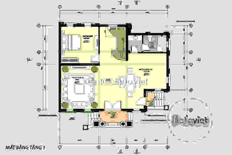 Mặt bằng tầng 1 thiết kệ dinh thự - biệt thự đẹp 3 tầng Cổ điển Pháp (CĐT: Ông Phú - Hà Nội) KT16462 bởi Công Ty CP Kiến Trúc và Xây Dựng Betaviet