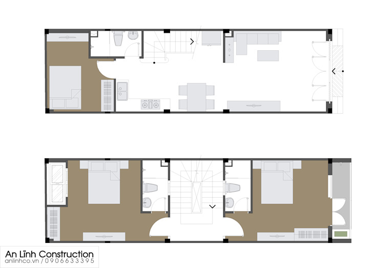 Thiết kế công trình nhà phố cho chủ đầu tư ở Tân Phú bởi CÔNG TY THIẾT KẾ XÂY DỰNG AN LĨNH