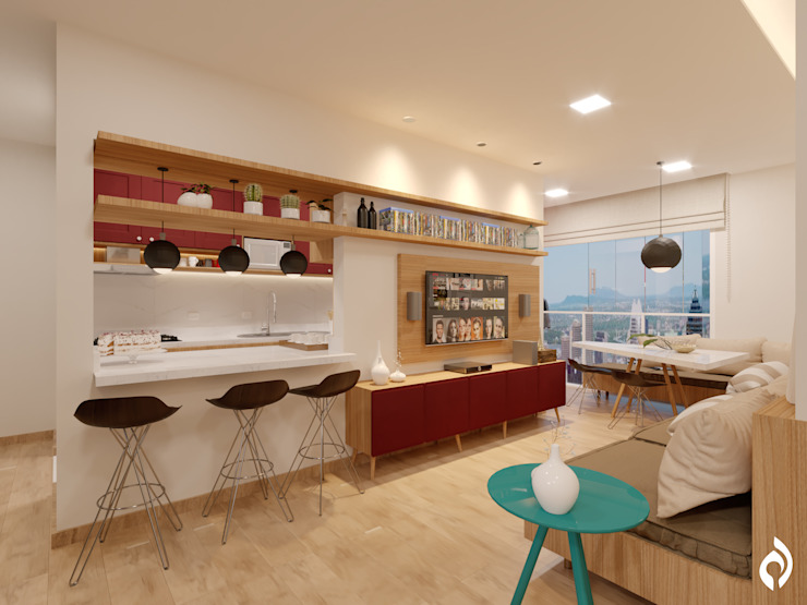 Apartamento MJ Salas de estar escandinavas por Alessandro Ramos Arquitetura Escandinavo