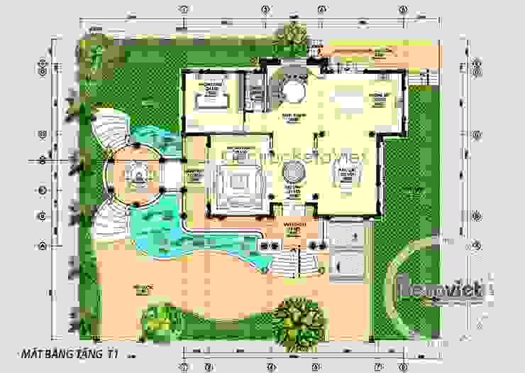 Mặt bằng tầng 1 mẫu thiết kế biệt thự đẹp kiểu Pháp 3 tầng Tân cổ điển lung linh (CĐT: Ông Thanh - Bắc Ninh) KT16128 bởi Công Ty CP Kiến Trúc và Xây Dựng Betaviet