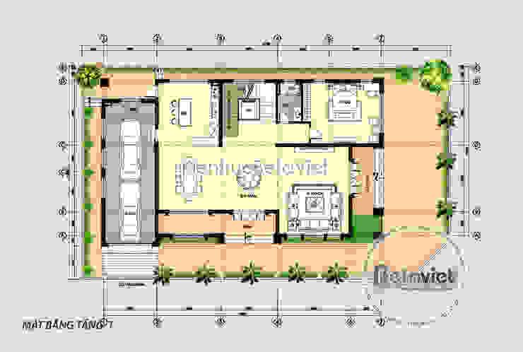 Mặt bằng tầng 1 mẫu thiết kế biệt thự đẹp 3 tầng Hiện đại đẹp hoành tráng lung linh (CĐT: Bà Dung - Hải Dương) KT17502 bởi Công Ty CP Kiến Trúc và Xây Dựng Betaviet