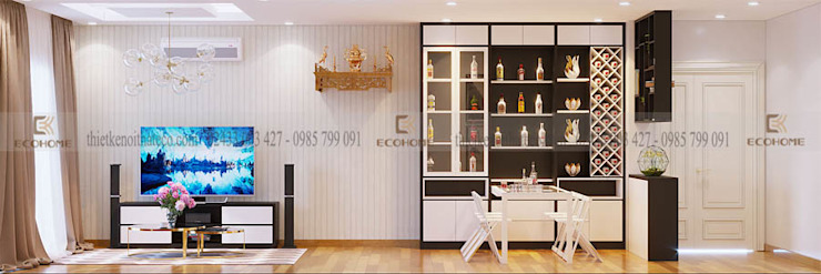 Bàn ăn thông minh kết hợp tủ trang trí Phòng ăn phong cách hiện đại bởi homify Hiện đại