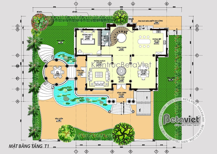 Mặt bằng tầng 1 mẫu thiết kế dinh thự Pháp Tân cổ điển 3 tầng tráng lệ hoành tráng (CĐT: Ông Thanh - Bắc Ninh) KT16128 bởi Công Ty CP Kiến Trúc và Xây Dựng Betaviet