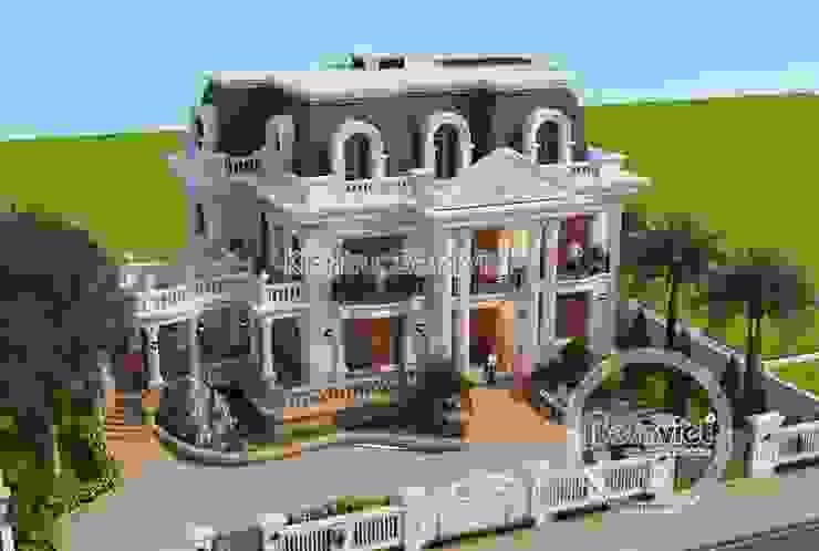 Phối cảnh mẫu thiết kế dinh thự Pháp Tân cổ điển 3 tầng tráng lệ hoành tráng (CĐT: Ông Thanh - Bắc Ninh) KT16128 bởi Công Ty CP Kiến Trúc và Xây Dựng Betaviet