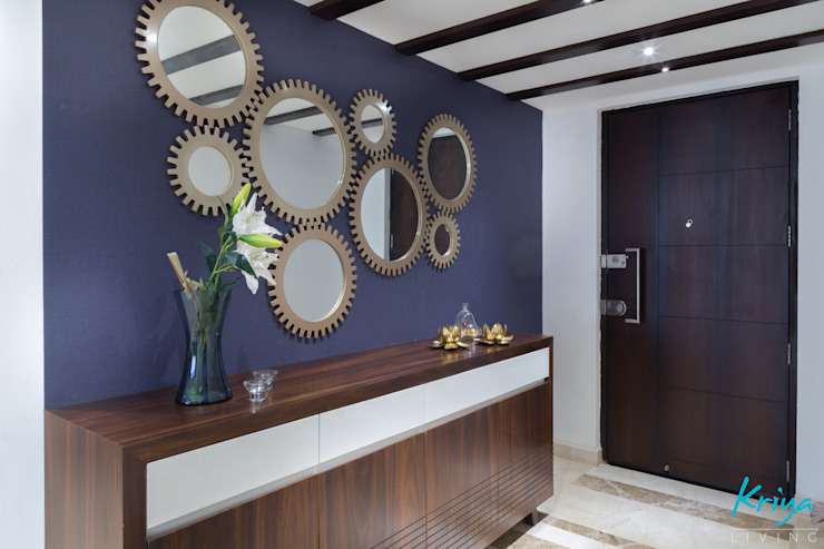 3 BHK Apartment - Raheja Pebble Bay Modern corridor, hallway & stairs by KRIYA LIVING Modern