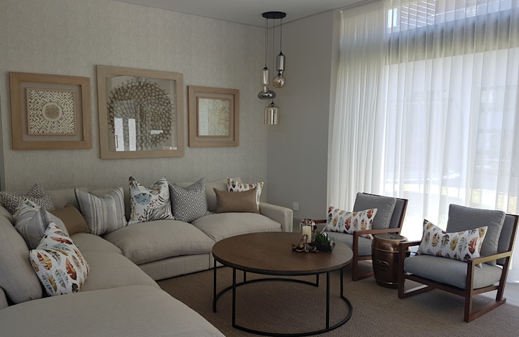 Copper & Grey Tones Modern living room by Sophistique Interiors Modern