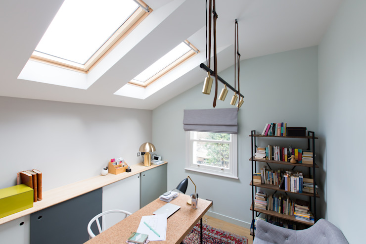 Brook Green London townhouse My-Studio Ltd Scandinavian style study/office Green