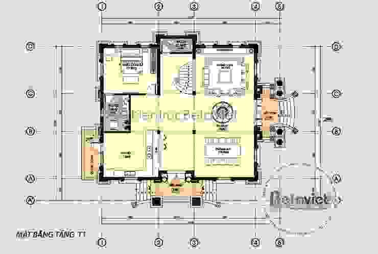 Mặt bằng tầng 1 mẫu thiết kế biệt thự đẹp cổ điển kiểu Pháp 3 tầng tráng lệ (CĐT: Ông Tuấn - Hưng Yên) KT17156 bởi Công Ty CP Kiến Trúc và Xây Dựng Betaviet