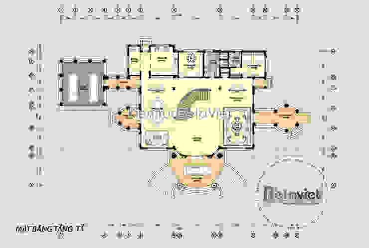 Mặt bằng tầng 1 mẫu thiết kế biệt thự tuyệt đẹp 3 tầng lung linh bên hồ Linh Đàm (CĐT: Ông Lượng - Hà Nội) KT16321 bởi Công Ty CP Kiến Trúc và Xây Dựng Betaviet