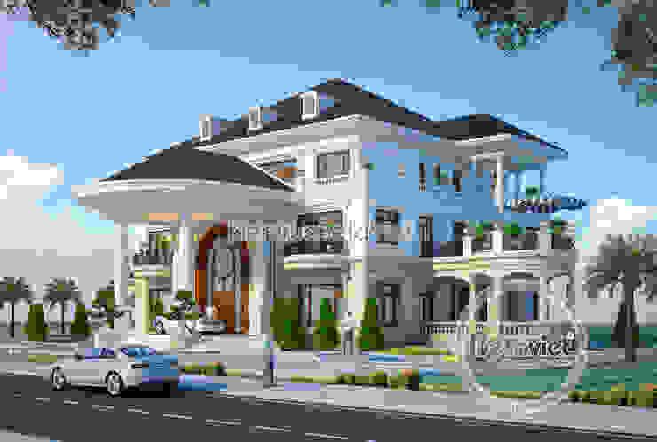 Phối cảnh mẫu thiết kế biệt thự tuyệt đẹp 3 tầng lung linh bên hồ Linh Đàm (CĐT: Ông Lượng - Hà Nội) KT16321 bởi Công Ty CP Kiến Trúc và Xây Dựng Betaviet