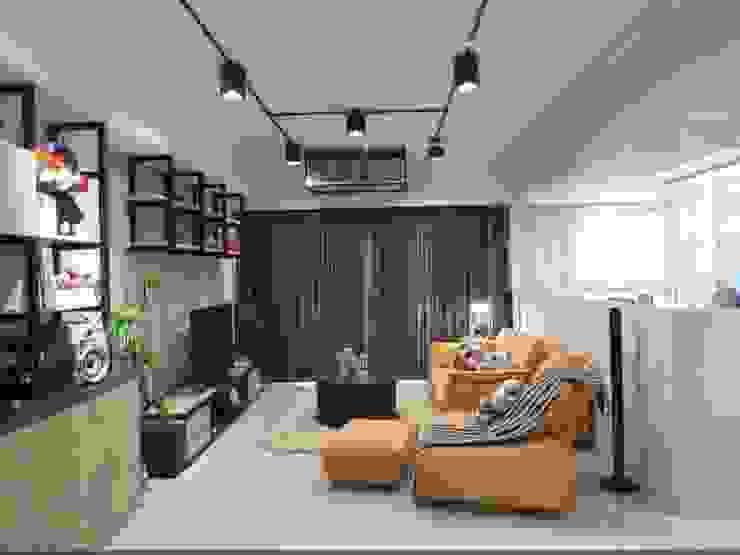 客廳 根據 龐比度空間規劃 工業風 鐵/鋼
