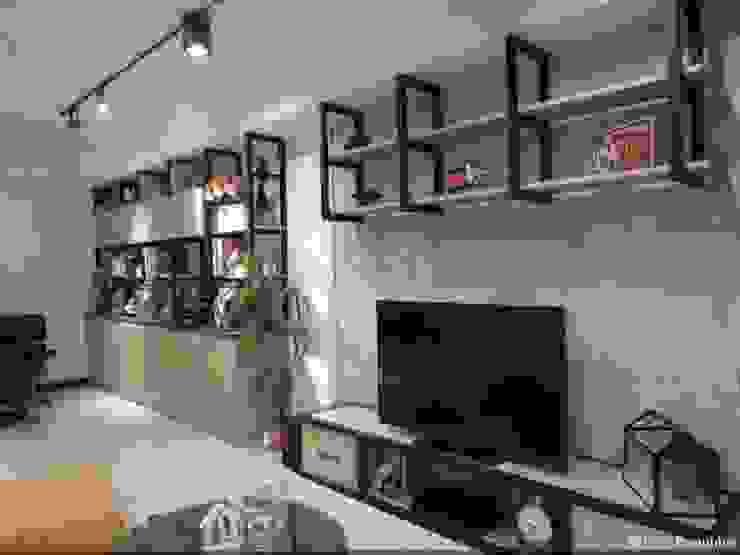電視牆 根據 龐比度空間規劃 隨意取材風