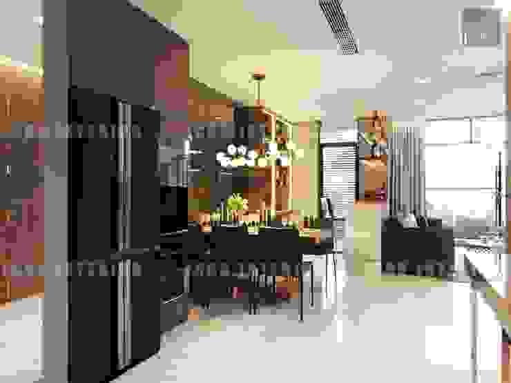 Nội thất Châu Âu hiện đại trong căn hộ Vinhomes Central Park Phòng ăn phong cách hiện đại bởi ICON INTERIOR Hiện đại