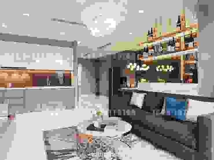 Nội thất Châu Âu hiện đại trong căn hộ Vinhomes Central Park bởi ICON INTERIOR Hiện đại