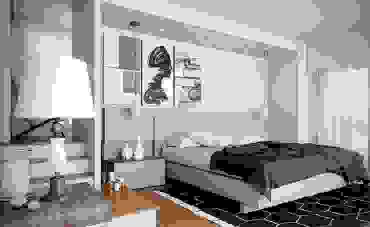Phòng ngủ với 2 gam màu đen trắng hiện đại Phòng ngủ phong cách hiện đại bởi Thương hiệu Nội Thất Hoàn Mỹ Hiện đại