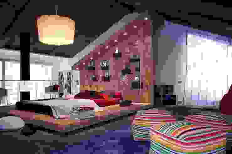 Thiết kế phòng ngủ liền phòng khách Phòng ngủ phong cách hiện đại bởi Thương hiệu Nội Thất Hoàn Mỹ Hiện đại
