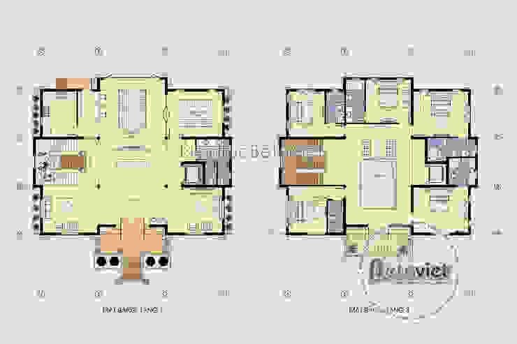 Mặt bằng tầng 1 và tầng 3 mẫu thiết kế biệt thự 3 tầng Cổ điển hoành tráng (CĐT: Ông Toán - Thanh Hóa) BT16025 bởi Công Ty CP Kiến Trúc và Xây Dựng Betaviet