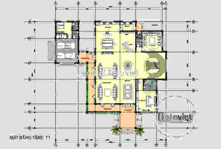 Mặt bằng tầng 1 mẫu thiết kế biệt thự Hiện đại 2 tầng phong cách Á Đông (CĐT: Ông Thắng - Quảng Bình) KT16139 bởi Công Ty CP Kiến Trúc và Xây Dựng Betaviet