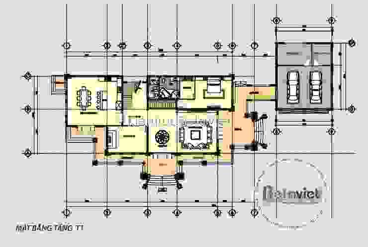 Mặt bằng tầng 1 thiết kế biệt thự vườn 2 tầng kiểu Pháp (CĐT: Ông Thanh - Hà Tĩnh) KT17073 bởi Công Ty CP Kiến Trúc và Xây Dựng Betaviet
