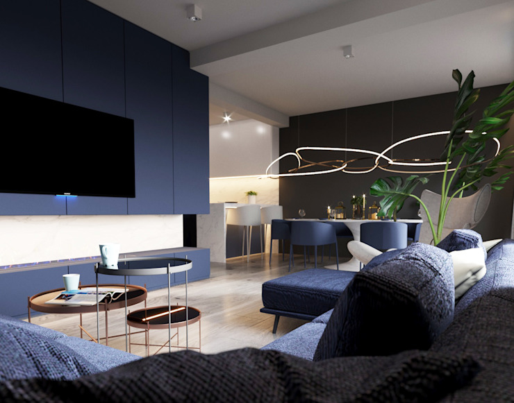 A Navy Situation Modern living room by homify Modern