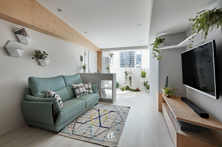 | 住宅設計案 | 喜光 现代客厅設計點子、靈感 & 圖片 根據 iT DESIGN 一它設計 現代風 大理石