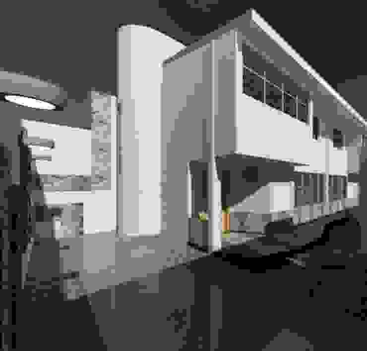 ESTACIONAMIENTO Y VISTA DE CASA Casas de estilo ecléctico de ESTUDIO KULUMAK Ecléctico Piedra