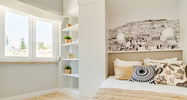 Apartamento da Alegria Quartos escandinavos por Homestories Escandinavo