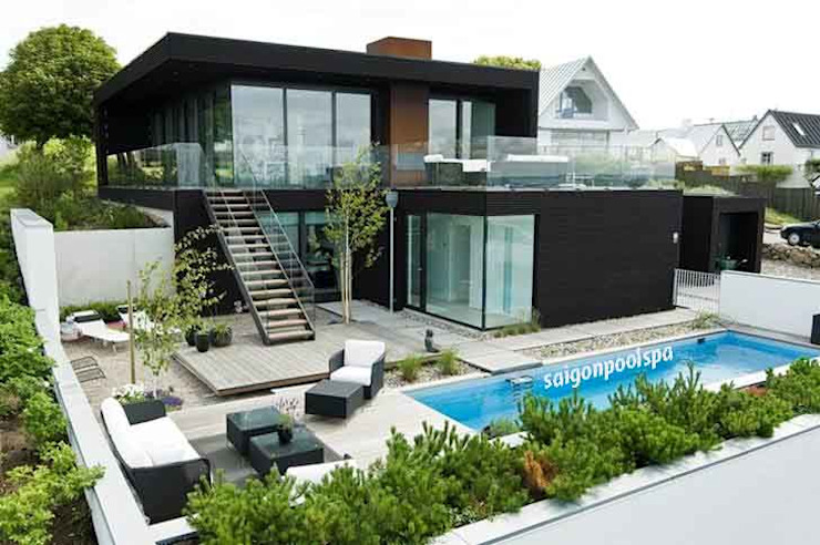 Thiết kế thi công bể bơi ở Đồng Nai Hồ bơi phong cách hiện đại bởi Công ty thiết kế xây dựng hồ bơi Saigonpoolspa Hiện đại
