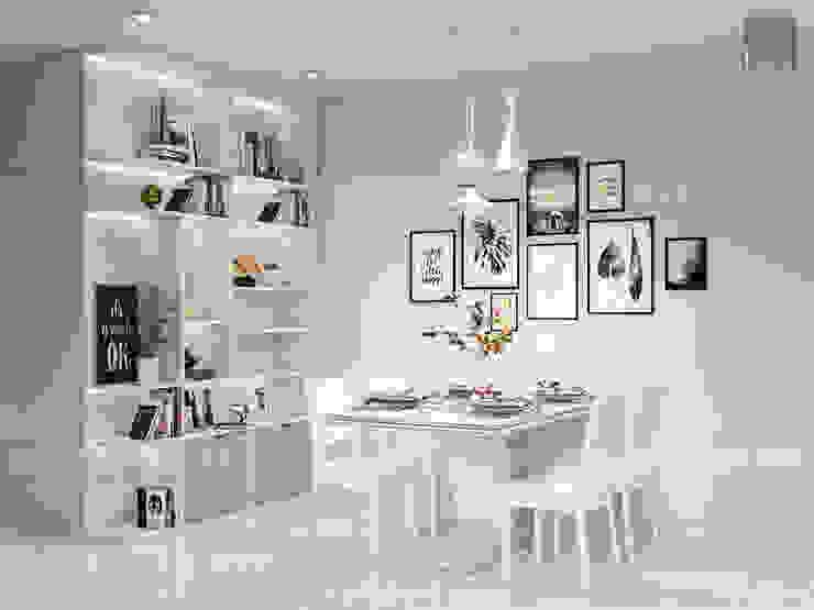 Thiết kế nội thất Vinhomes Centra Park đẹp rạng ngời cùng sắc trắng tinh khôi Phòng ăn phong cách hiện đại bởi ICON INTERIOR Hiện đại