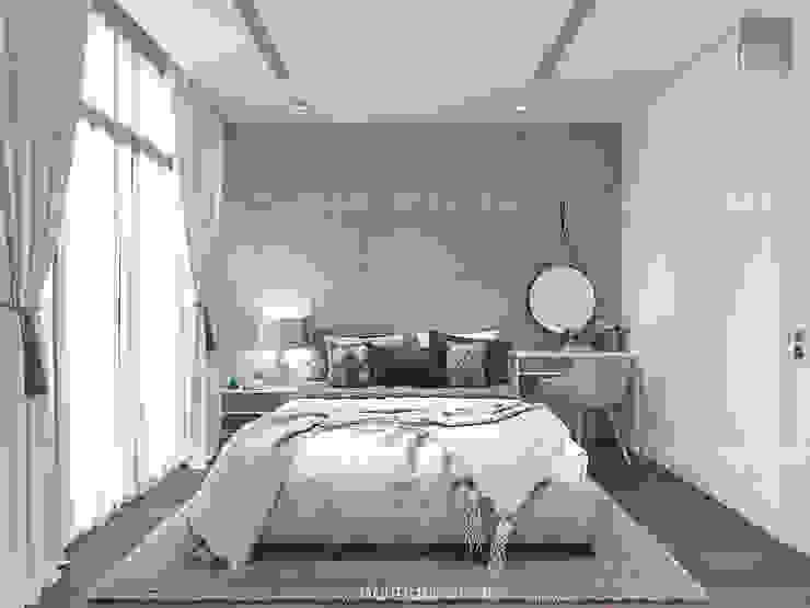 Thiết kế nội thất Vinhomes Centra Park đẹp rạng ngời cùng sắc trắng tinh khôi Phòng ngủ phong cách hiện đại bởi ICON INTERIOR Hiện đại