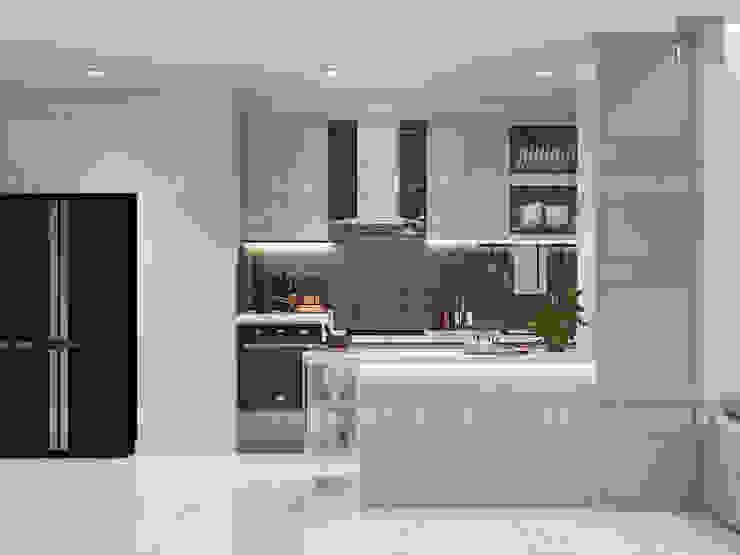 Thiết kế nội thất Vinhomes Centra Park đẹp rạng ngời cùng sắc trắng tinh khôi Nhà bếp phong cách hiện đại bởi ICON INTERIOR Hiện đại
