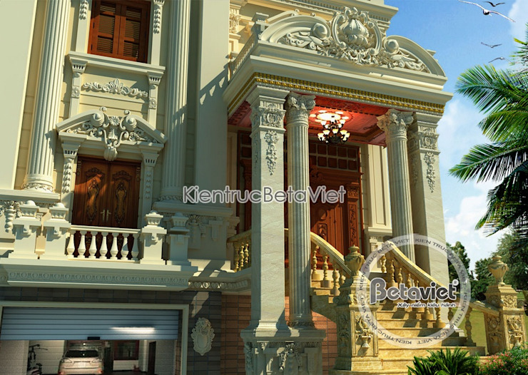 Phối cảnh mẫu thiết kế lâu đài dinh thự đẹp 3 tầng lung linh (CĐT: Ông Úy - Hà Nội) BT15013 bởi Công Ty CP Kiến Trúc và Xây Dựng Betaviet