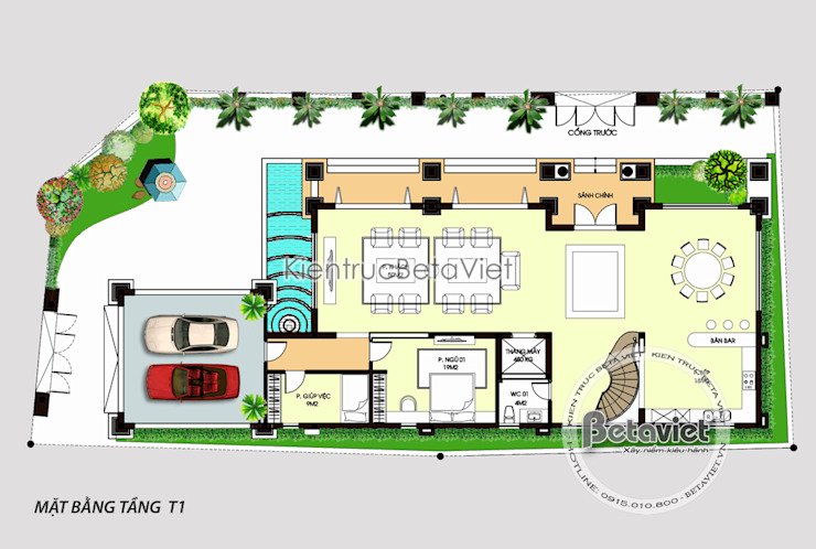 Mặt bằng tầng 1 mẫu thiết kế biệt thự đẹp 3 tầng siêu hoành tráng (CĐT: Ông Tuấn - Nghệ An)KT16107 bởi Công Ty CP Kiến Trúc và Xây Dựng Betaviet