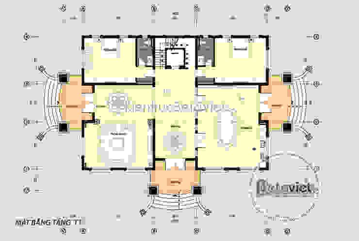 Mặt bằng tầng 1 biệt thự dinh thự kiểu Pháp 3 tầng 2 mặt tiền nguy nga lộng lẫy (CĐT: Ông Đồng - Hưng Yên) KT17074 bởi Công Ty CP Kiến Trúc và Xây Dựng Betaviet