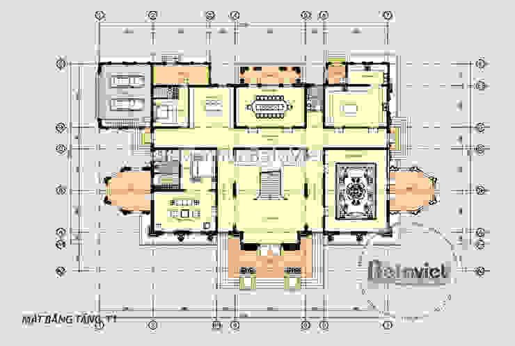 Mặt bằng tầng 1 mẫu thiết kế biệt thự đẹp 2 tầng Cổ điển hoa lệ hoành tráng ( CĐT: Ông Nam - Thanh Hóa) KT17034 bởi Công Ty CP Kiến Trúc và Xây Dựng Betaviet