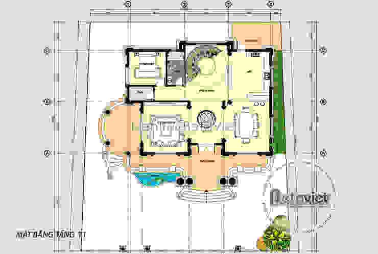 Mặt bằng tầng 1 mẫu thiết kế lâu đài dinh thự 3 tầng kiểu Pháp Tân cổ điển (CĐT: Ông Thái - Bắc Ninh) KT17091 bởi Công Ty CP Kiến Trúc và Xây Dựng Betaviet