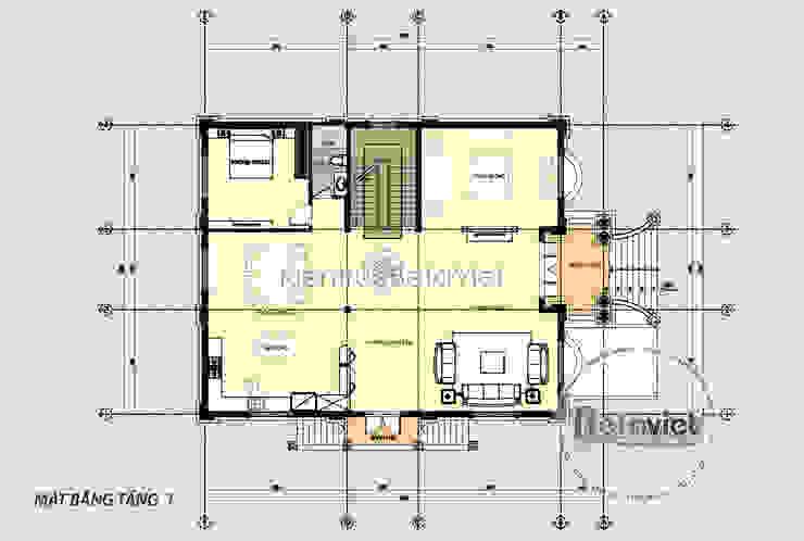 Mặt bằng tầng 1 mẫu thiết kế lâu đài dinh thự hoành tráng 3 tầng Tân cổ điển (CĐT: Ông Hưởng - Bắc Ninh) KT17058 bởi Công Ty CP Kiến Trúc và Xây Dựng Betaviet