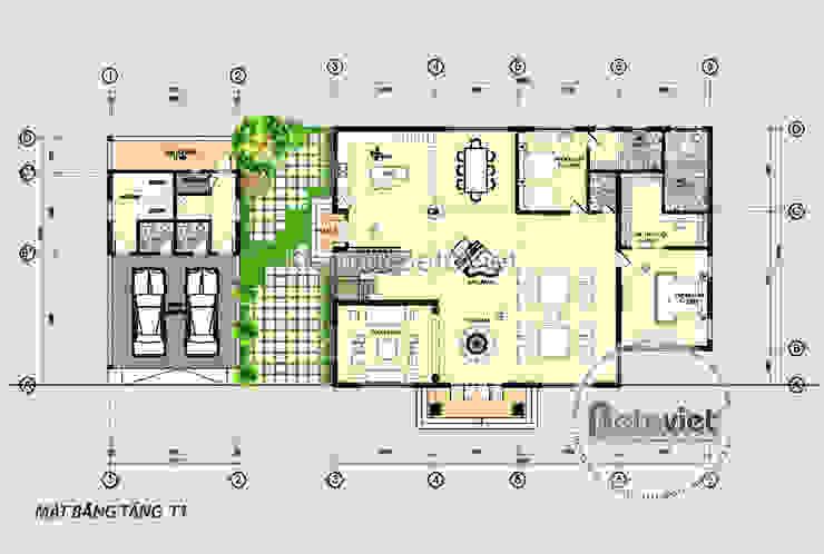 Mặt bằng tầng 1 mẫu thiết kế biệt thự 2 tầng Tân cổ điển đẹp (CĐT: Ông Duẩn - HCM) KT17012 bởi Công Ty CP Kiến Trúc và Xây Dựng Betaviet