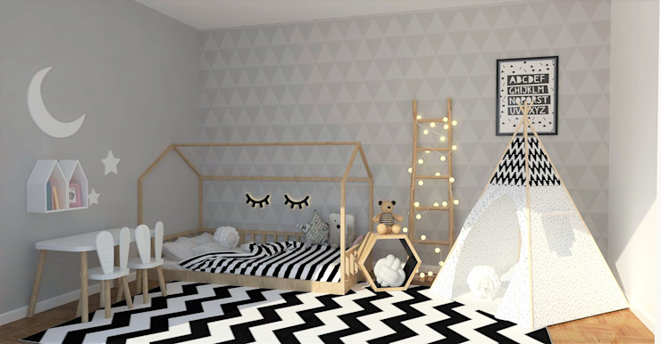 Girls Bedroom by moffitdesign, Scandinavian