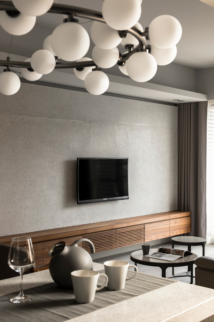 Living area 根據 湜湜空間設計 隨意取材風 水泥