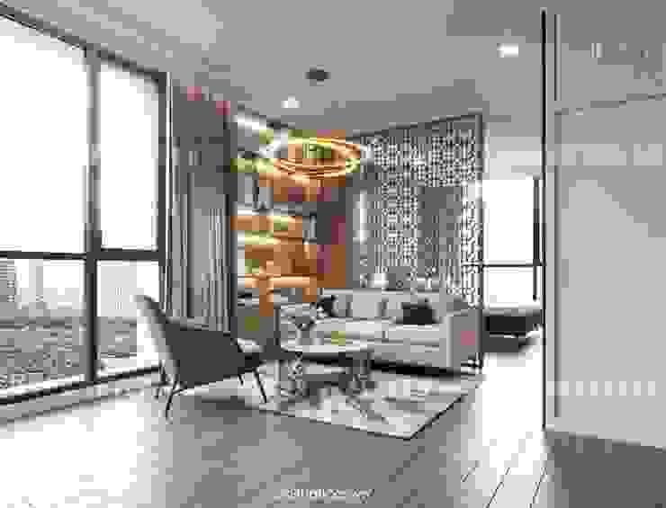 Căn hộ Vinhomes Central Park thiết kế theo phong cách hiện đại dẹp mê mẫn Phòng ngủ phong cách hiện đại bởi ICON INTERIOR Hiện đại