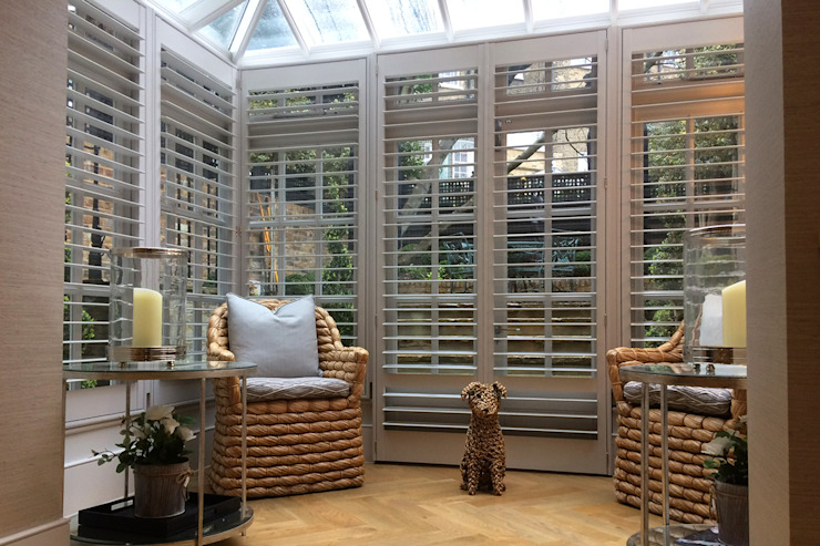 Full Height Shutters in a Conservatory Plantation Shutters Ltd Konservatori Modern Kayu Grey