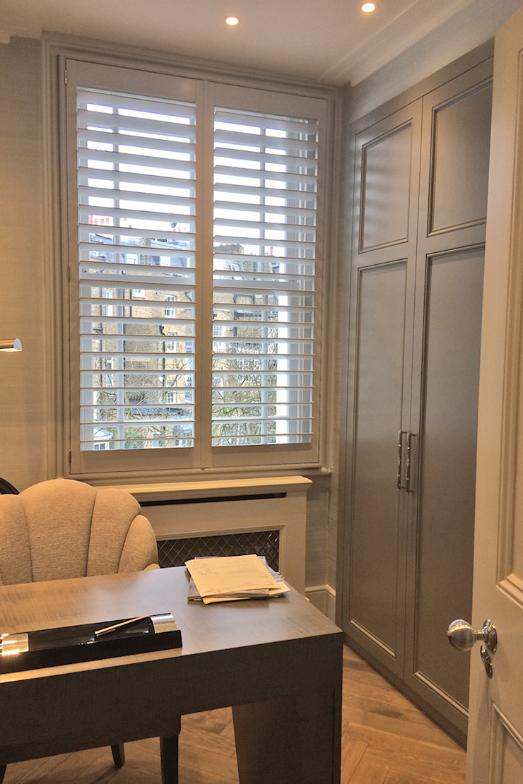 Full Height Shutters in a Home Office Plantation Shutters Ltd Ruang Studi/Kantor Modern Kayu Grey