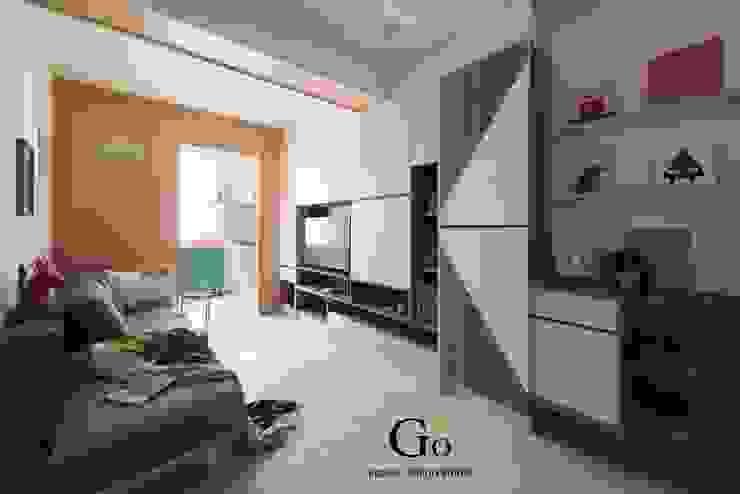 台北中和W宅 现代客厅設計點子、靈感 & 圖片 根據 勁懷設計 現代風