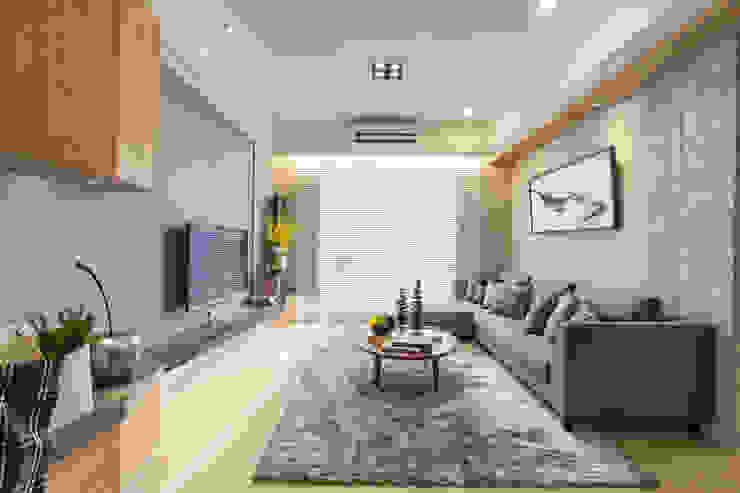 混搭 / 新婚居 现代客厅設計點子、靈感 & 圖片 根據 騰龘空間設計有限公司 現代風