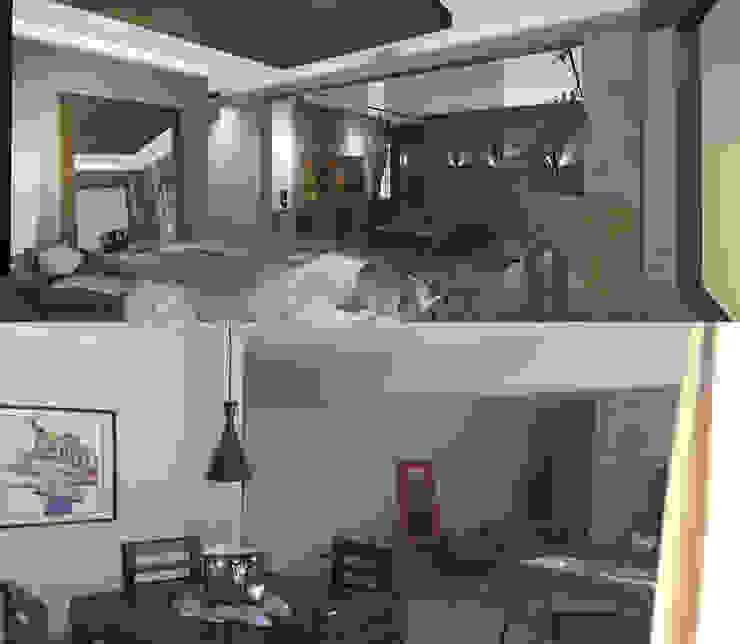 Antes y Después 1 Livings de estilo moderno de CB Luxus Inmobilien Moderno