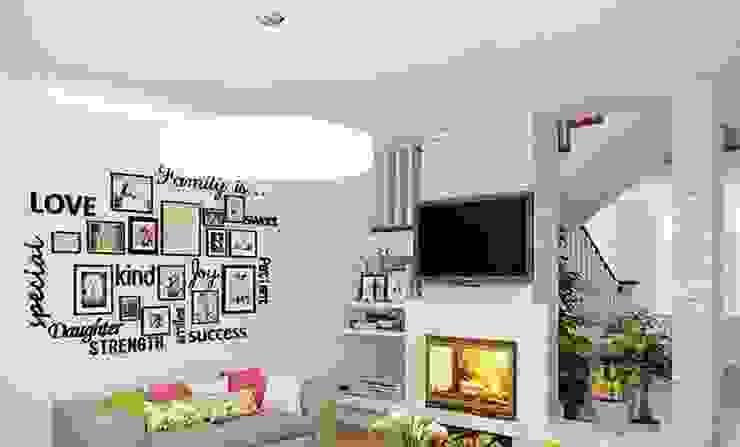 Phòng khách màu trắng đẹp bởi Thương hiệu Nội Thất Hoàn Mỹ Hiện đại