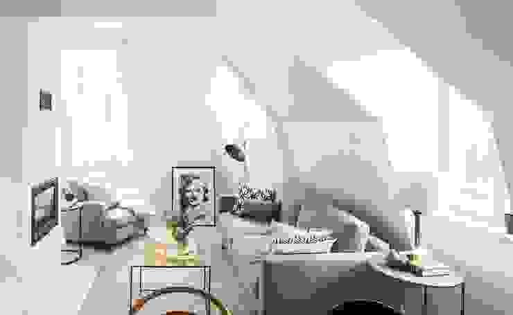 Trần phòng khách màu trắng bởi Thương hiệu Nội Thất Hoàn Mỹ Hiện đại